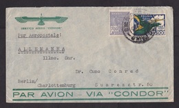 Brazil: Airmail Cover To Germany, 1938, 2 Stamps, Airplane, Via Condor Air Service (minor Creases) - Brazilië