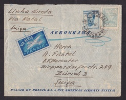 Brazil: Airmail Cover To Switzerland, 1942, 2 Stamps, Panair, Pan American Airways, Via Natal, Inflation (minor Damage) - Brazilië