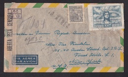 Brazil: Registered Airmail Cover To USA, 1945, 2 Stamps, Peace, Censored, Censor Label & Cancel (minor Damage) - Brazilië