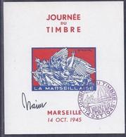 Feuillet Souvenir Journée Du Timbre 1945 Marseille La Marseillaise Signé Draim - Liberación