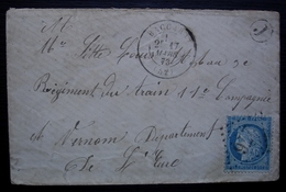 Baccarat (Meurthe) 1873 GC 276 Avec Boîte Rurale J, Lettre Pour Le Régiment Du Train 2 Convoyeurs Au Revers (Avricourt ) - Storia Postale