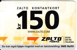 NORWAY - Zalto Mobile Prepaid Card 150 Kr, Used - Norway