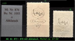 EARLY OTTOMAN SPECIALIZED FOR SPECIALIST, SEE....Mi. Nr. 873 + 76 Mit Zarten Abklatsch - 1921-... Republiek