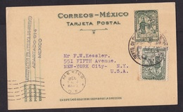 Mexico: Stationery Postcard To USA, 1936, 1 Extra Stamp (stamp Minor Discolouring) - Mexico