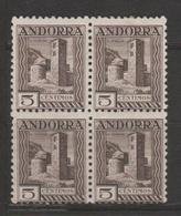 ANDORRA C. ESPAÑOL  BLOQUE DE 4 SELLOS  Nº 29 (K.1) - Spanish Andorra