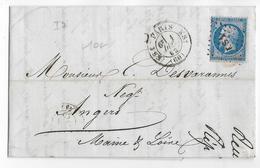 1862 - PARIS - BUREAU De QUARTIER KS1 Sur LETTRE => ANGERS - IND 7 - Marcophilie (Lettres)