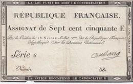 ASSIGNAT N° 94 - SEPT CENT CINQUANTE FRANCS - 18 Nivose De L'an III ( 07/01/1795 ) - Assignats