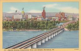 P A - Pennsylvania : HARRISBURG : Skyline Showing Susquehanna River And Bridges,  ( Colorisée - Toilée ) - Harrisburg