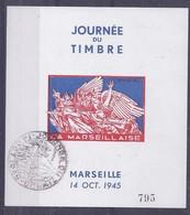 Feuillet Souvenir Journée Du Timbre 1945 Marseille La Marseillaise Draim - Liberación