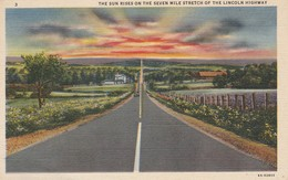 P A - Pennsylvania : LINCOLN : The Sun Rises On The Seven Mile Stretch Of The Lincoln Highway ( Colorisée - Toilée ) - Other