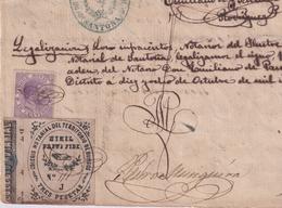 F-EX16307 ESPAÑA SPAIN 1884 REVENUE NOTARIOS ESCRIBANOS NOTARIES LAWYER . BURGOS 3 Ptas. SERIE J. - Fiscale Zegels
