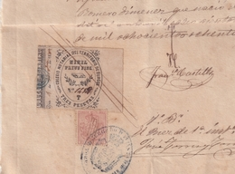 F-EX16320 ESPAÑA SPAIN 1882 REVENUE NOTARIOS ESCRIBANOS . BURGOS 3 Ptas. SERIE T + CUBA TIMBRE MOVIL REVENUE USE - Fiscale Zegels
