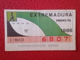 CUPÓN DE LA ONCE SPANISH LOTTERY LOTERIE SPAIN CIEGOS BLIND LOTERÍA ESPAÑA REGIONES 1986 EXTREMADURA EXTREMADURE REGIÓN - Billetes De Lotería