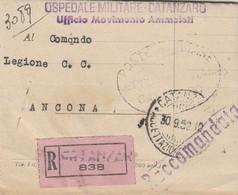 Catanzaro. 1952. Annullo Guller Su Racomandata, Dell'OSPEDALE MILITARE CATANZARO  Ufficio Movimento Ammalati - Altri