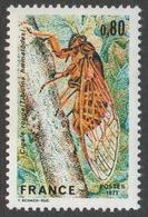 France Neuf Sans Charnière 1977  Faune Insecte Cigale Rouge YT 1976 - Neufs