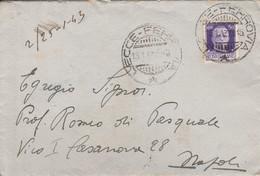 Lecce. 1943. Annullo Guller LECCE - FERROVIA, Su Lettera Affrancata Con C.50. - Militari