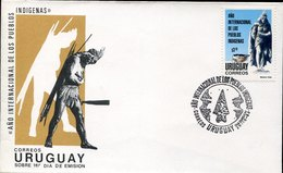 46208 Uruguay, Fdc 1993,  International Year Of Indigenal People, Prehistory, Prehistoric Weapons - Préhistoire