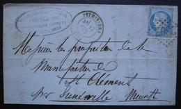 Pithiviers GC 2867 1872 Presle Ainé Porcelaines Et Cristaux, Convoyeurs Au Revers (paris Avricourt Et Clermont Paris) - Marcophilie (Lettres)