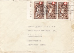 SCHWEIZ 1939 - 3 X 10+10 C Mit Randstück Auf Brief Gel.v.Bern > Wien - Briefe U. Dokumente