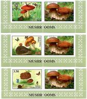Tajikistan.2019 Mushrooms(Butterflies,Hedgehog,Frog).3v:3.50,4.20,5.80 + Label - Tagikistan