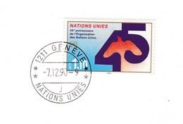NATIONS UNIES Carte De Voeux 1991 Avec Timbre 1990 - 45ème Anniversaire Des Nations Unies Oblitéré Genève 7/12/1990 - Briefe U. Dokumente