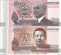 CAMBODGE 100-500 RIELS 2014 UNC P 65-66 ( 2 Billets ) - Cambodia