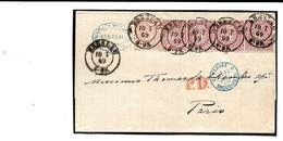 EVLA0005-Confédération De L' ALLEMAGNE Du NORD. MI 15-16(2) BRESLAU 10.7.69 S/Lettre V. Paris.+ PRUSSE/ERQUELINNES 3. TB - Norddeutscher Postbezirk (Confederazione Germ. Del Nord)