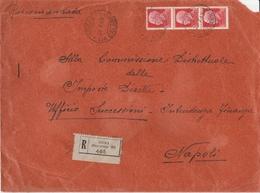 Roma. 1943. Annullo Guller  ROMA 27 * VIA CALABRIA* Su Lettera Raccomandata Affrancata Con Striscia Di 3 Del C. 75 - Marcofilía