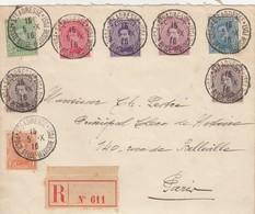LETTRE. DEVANT.  5 X 1916. SEINE INFERIEURE RECOMMANDÉ  ST ADRESSE POSTE BELGE POUR PARIS. ALBERT 1°,  7 COULEURS - WW I