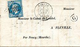 Lettre Avec Contenu De Dieuze (Meurthe) Pour Nancy (Meurthe). Boîte Rurale G De Guébling, Datée Deu 24/11/1869 - 1863-1870 Napoleon III Gelauwerd