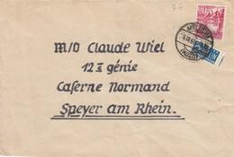LETTRE ALLEMAGNE OCCUPATION FRANCAISE. MÜLHEIM MOSEL NOTOPFER2 POUR CASERNE NORMAND SPEYER AM RHEIM - Zone Française