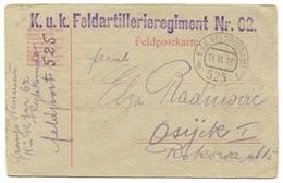 AUSTRIA HUNGARY WW1 - K.u.K. FELDPOST Nr. 525 FELD ARTILLERIEREGIMENT 1918. WAR PROPAGANDA, TRAVELED TO OSIJEK CROATIA - WO1