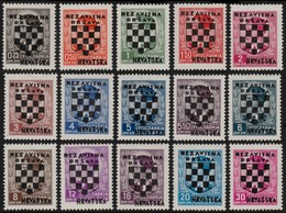 ~~~ Croatia 1941 - Overprinted Set -  Mi. 9/23 ** MNH OG - CV 60 Euro ~~~ - Kroatië