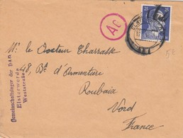 LETTRE ALLEMAGNE. 2 7 1943. ELSTERWERDA POUR ROUBAIX FRANCE. CENSURE - Covers & Documents