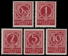 ~~~ Croatia 1941 - Postage Due -  Mi. 6/10 ** MNH OG ~~~ - Kroatië