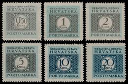 ~~~ Croatia 1941 - Postage Due - Perf L11½ -  Mi. 11/16 ** MNH OG ~~~ - Kroatië