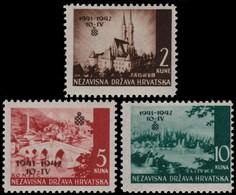 ~~~ Croatia 1942 - Overprinted Set  -  Mi. 78/80 ** MNH OG ~~~ - Kroatië