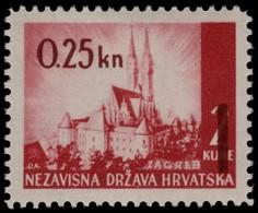 ~~~ Croatia 1942 - Overprint 0.25 Kn - Mi. 82 ** MNH OG ~~~ - Kroatië