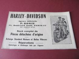 HARLEY-DAVIDSON - AGENCE OFFICIELLE P. BORIE PARIS - PUBLICITE De FEVRIER 1952. - Werbung