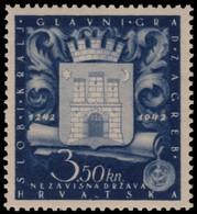 ~~~ Croatia 1943 - Zagreb Golden Bull - Mi. 97 ** MNH OG  ~~~ - Kroatië