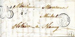 Lettre Avec Contenu De Bourdonnay (Meurthe) Pour Nancy (Meurthe), Taxée à 25, Boîte Rurale De Réchicourt-Le-Château - Frankrijk
