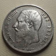 1875 - Belgique - Belgium - 5 FRANCS, LEOPOLD II , Petite Tête, Argent, Silver, KM 24 - 09. 5 Francs