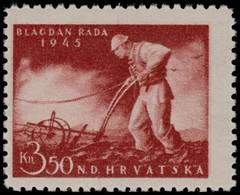 ~~~ Croatia 1945 - Labor Day Plowman -  Mi. 178 ** MNH OG  ~~~ - Kroatië