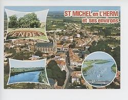 Saint Michel De L'Herm Et Ses Environs : Aérienne, Luçon Jardin, Marais, L'Aiguillon Le Port (cp Vierge N°7391) - Saint Michel En L'Herm