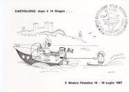 """Castiglione Della Pescaia (GR) - 1987 Mostra Filatelica """" La Vela Attraverso I Secoli """" - - Satira"""