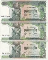 CAMBODGE 500 RIELS 1975 XF+ P 16 B ( 3 Billets ) - Cambodia