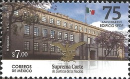 J) 2016 MEXICO, MEXICAN FLAG-HEADQUARTERS BUILDING-TREES-EAGLE & SNAKE (COAT OF ARMS), SUPREME COURT OF JUSTICE 75TH ANN - Mexico