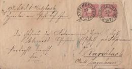 DR Brief Mef Minr.2x 33 K1 Rauschenberg 23.4.1875 Nachv. Stempel Gel. Nach K1 Ziegenhain - Germany
