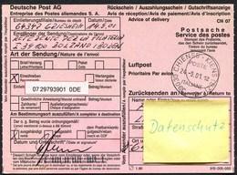(1872) Rückschein 39030 CHIENES KIENS BOZEN, 24.9.2001, Italienischer R-Code Rückseitig, Griesheim, Einschreiben - Italien