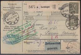 DR Paketkarte Mif Minr.2x 115,5x 157,2x 159 Gardelegen 25.11.21 Gel. In Schweiz - Briefe U. Dokumente
